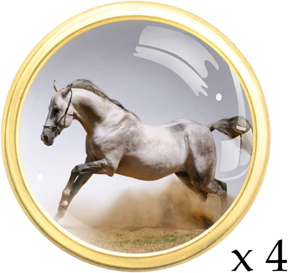 Cheval blanc sautant Bouton de tiroir rond or en m/étal massif avec verre pour la porte du meuble de cuisine commode armoire penderie tirer la poign/ée 4 pcs