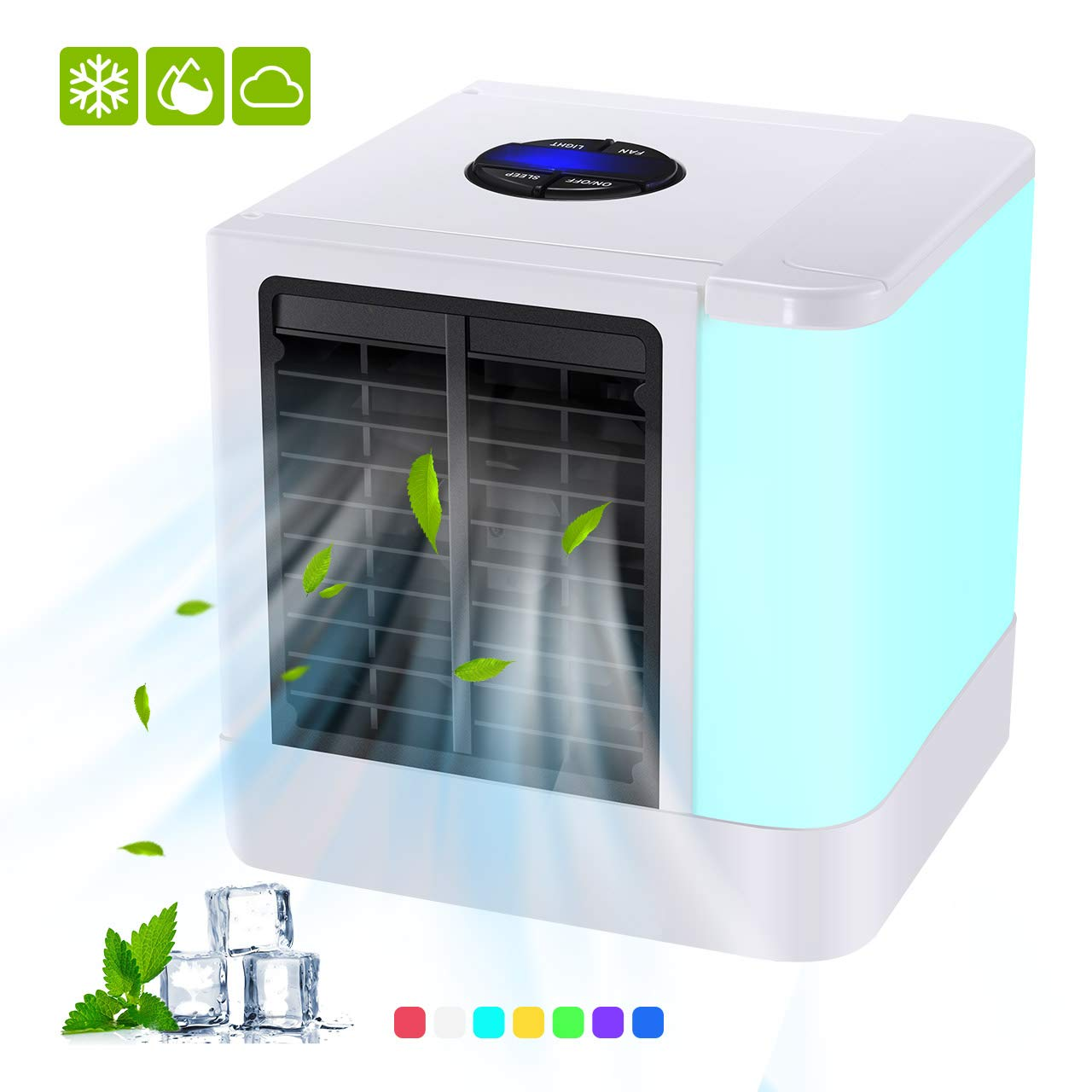 Portable Air Cooler, 3 in 1 Mini Personal Space Air Cooler, USB Powered Desktop Evaporative Air Cooler Humidifier and Purifier, 3 Speeds and 7 Colors LED Light for Office, Home and Outdoor Travel TOPELEK
