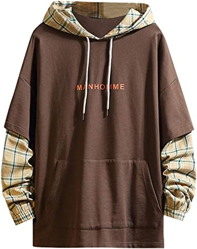 Men Casual Solid Plaid Patchwork Long Sleeve Hooded Drawstring Sweatshirt Tops with Front Pocket