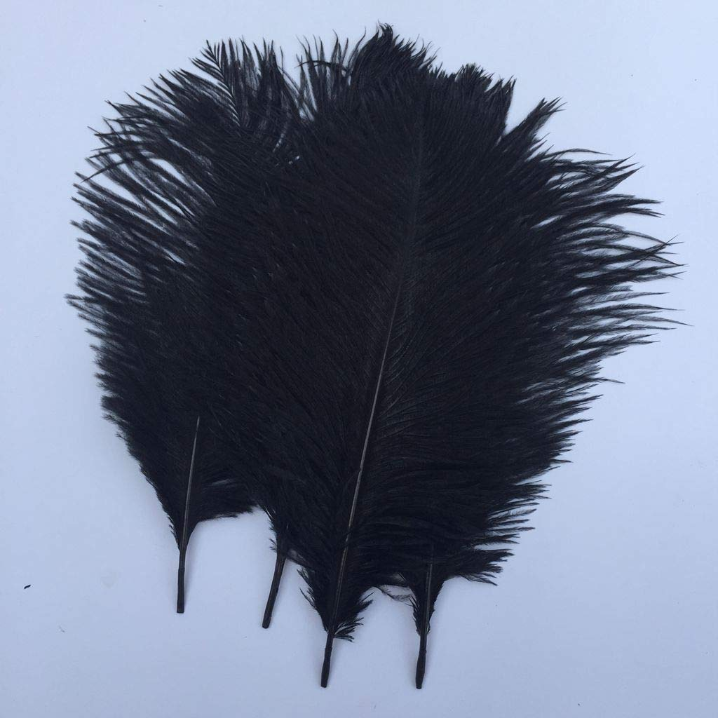 Shekyeon Black 10-12inch 25-30cm Ostrich Feather Home Decoration DIY Craft Pack of 10