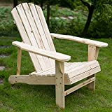 Merax Fashion Elegant Adirondack Outdoor Garden Patio Leisure Wood Lounge Chair, Natural Color