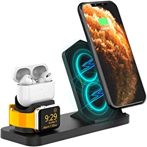 AOJUE 3 in 1 Wireless Charging Stand for iwatch Series 6/SE/ 5/4/3/2/1, AirPods, Qi Fast Charging Station for iPhone 12/11/11 Pro Max/XR/XS Max/XS/X/Samsung