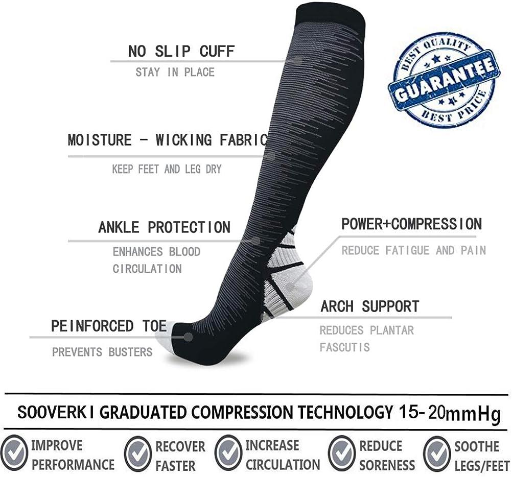 for Women /& Men Best Medical,Running,Travel,Nurse Socks Sooverki 6//8 Pack Compression Socks 15-20mmHg