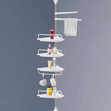 Corner Shower Caddy Warmq 4 Layer Adjustable Constant Tension Bathroom Shower Shelf Stainless Steel Pole Rust Proof Telescopic Rod Storage Rack Organizer Rustproof 3 4 To 9 8ft Home Improvement