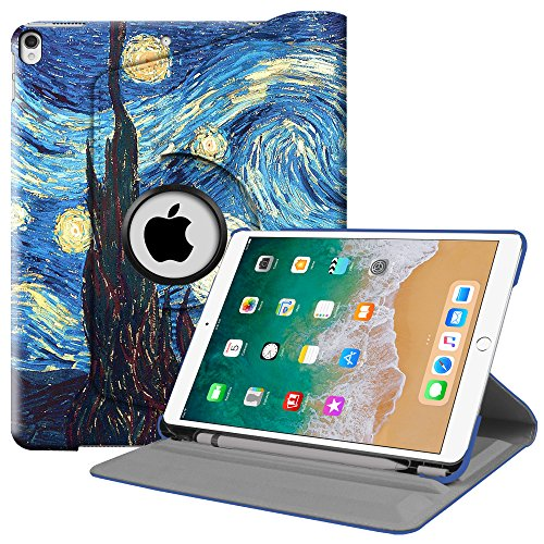 Fintie iPad Pro 10.5 Case with Built-in Apple Pencil Holder - 360 Degree Rotating Stand Protective Cover with Auto Sleep / Wake Feature for Apple iPad Pro 10.5 Inch 2017, Starry Night
