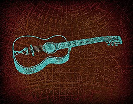 Amazon.com: Antique Style Acoustic Guitar Wall Art Guitar Print for ...