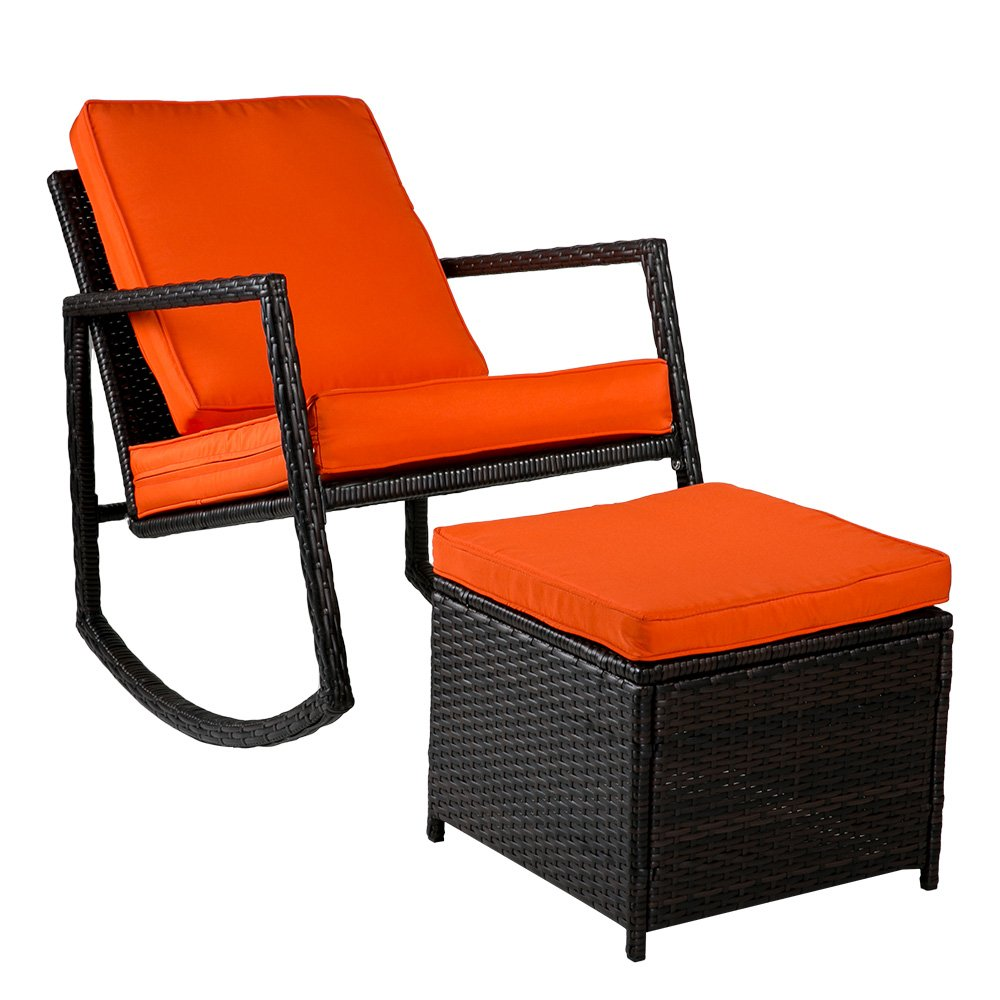 Merax WF036008GAA Patio Wicker Rocking Armed Outdoor Garden Lounge Chair Ottoman (Cushion Orange) Rattan Rocker
