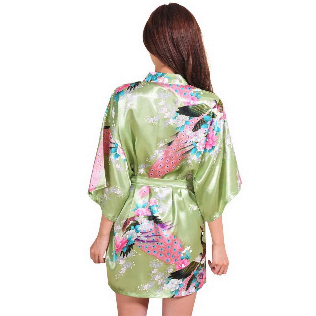 Silk Robe Kimono, Green Wedding Robe Womens Mini Silk Robe ...