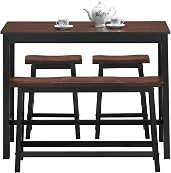 Amazon Com Costway 4 Piece Solid Wood Dining Table Set Counter Height Dining Furniture With One Bench And Two Saddle Stools Industrial Style With Foot Pads For Home Kitchen Living Room Black