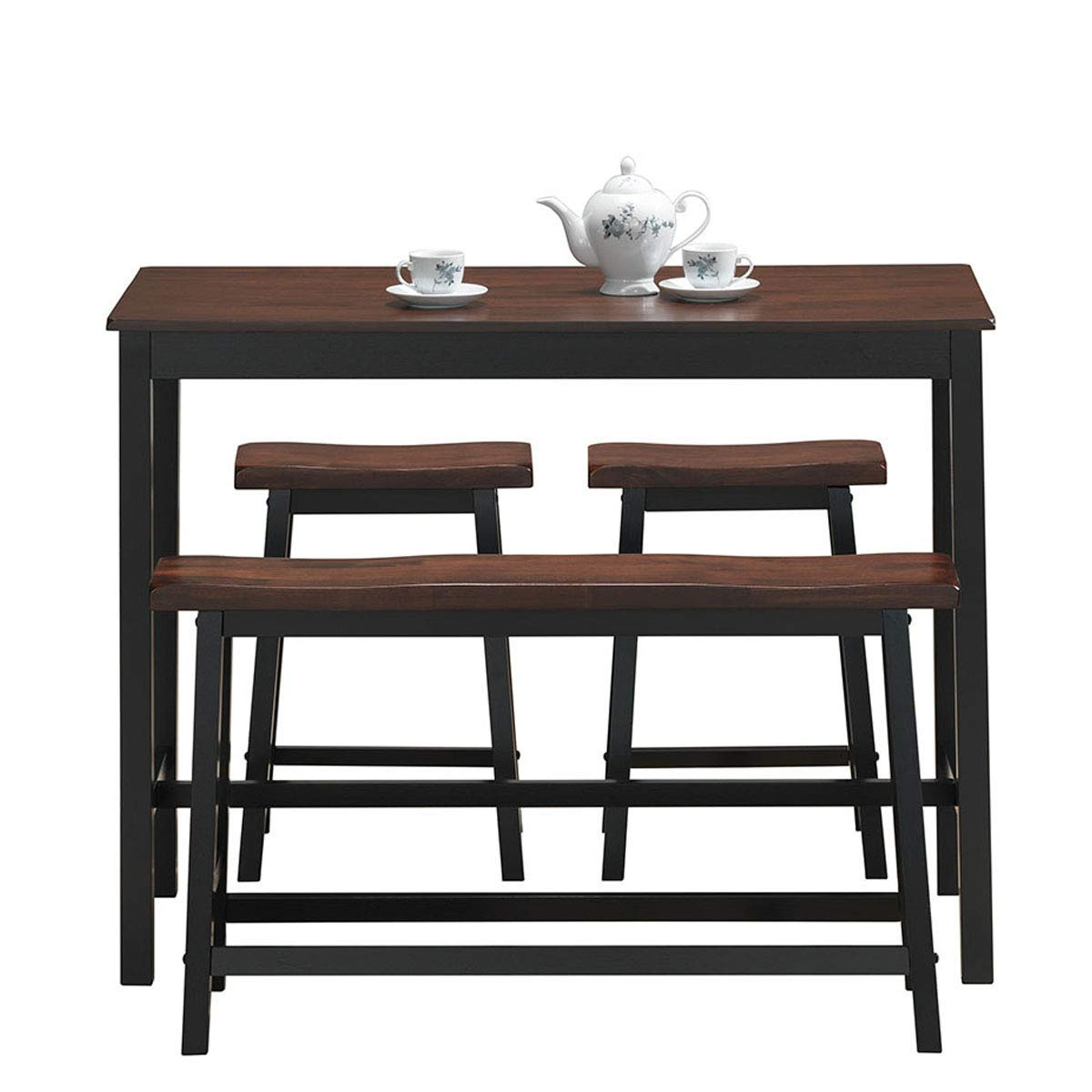 COSTWAY 4-Piece Solid Wood Dining Table Set, Counter Height Dining Furniture with One Bench and Two Saddle Stools, Industrial Style with Foot Pads, Ideal for Home, Kitchen, Living Room (Black & Brown) by COSTWAY