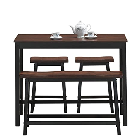COSTWAY 4-Piece Solid Wood Dining Table Set, Counter Height Dining  Furniture with One Bench and Two Saddle Stools, Industrial Style with Foot  Pads, ...