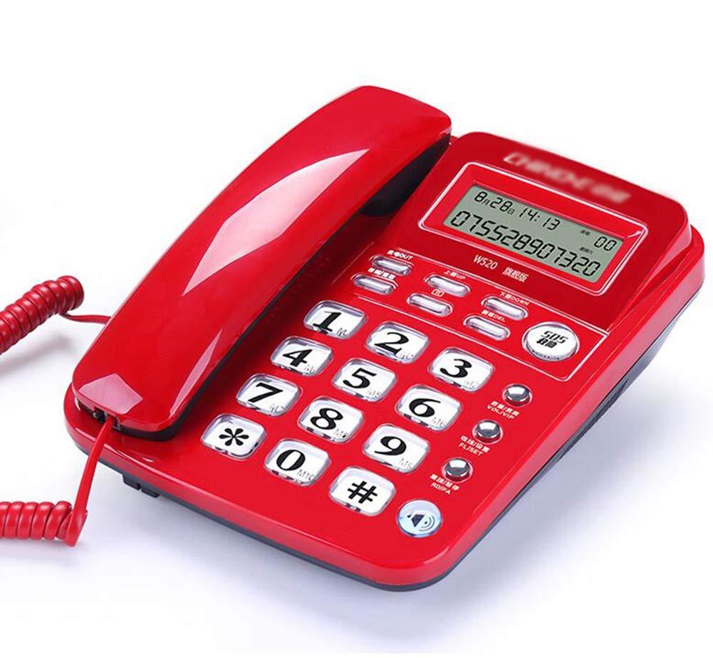 Wired Landline Fixed Telephone Landline Home Office Fixed Telephone Caller ID,Red by Telephone