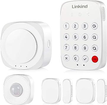 Linkind Smart Home Security System Kit, App/Sistema de Alarma de Control de Teclado para protección del hogar, 5 Piezas, con Alarma de Sirena de ...