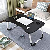 laptop deskFolding Bed Table Laptop Desk with iPad and Cup Holder Adjustable Lap Tray Notebook Stand foldable watch…