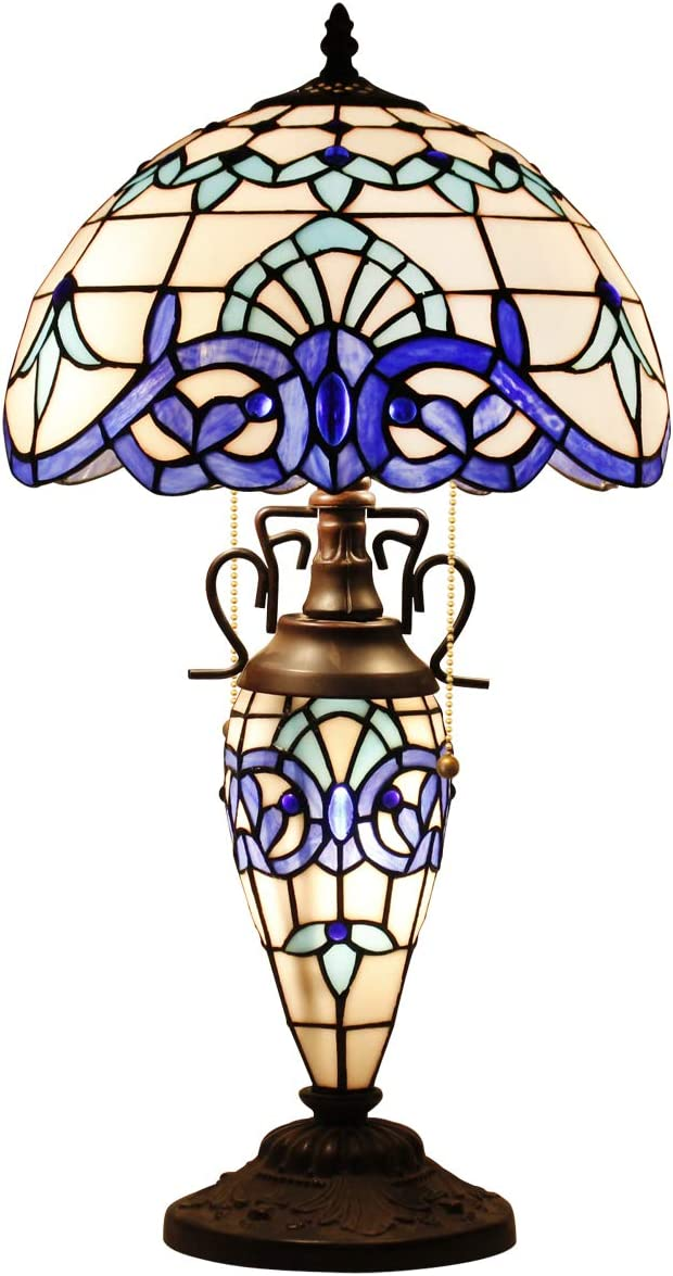 Tiffany Table Lamp with Crystal Pear Bead Stained Glass Night Light BaseW12H22 Inch Colorful Lampshade 3 Light Pull Chain Antique for Living Room Bedroom Coffee Table S005 WERFACTORY