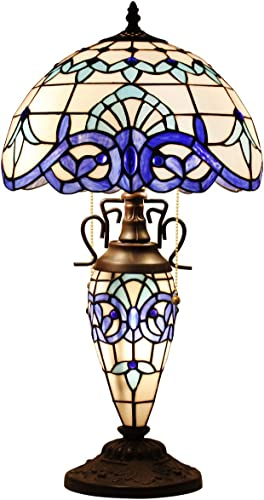 Tiffany Lamp W12H22 Inch White Blue Baroque Stained Glass Reading Style Bedside Table Night Light Coffee Base S003B WERFACTORY Lamps Lover Girlfriend Living Room Bedroom Study Office Nightstand Gift