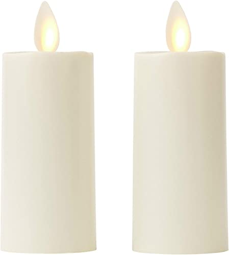 ZG HY Set of 2 Votive Flameless Candles 1.75 x3 Ivory Unscented Moving Flame Candles with Timer