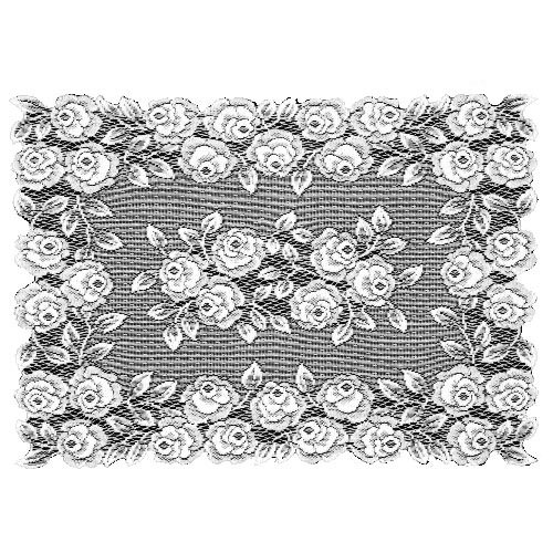 Heritage Lace Tea Rose 14-Inch by 20-Inch Placemat, White, Set of 2