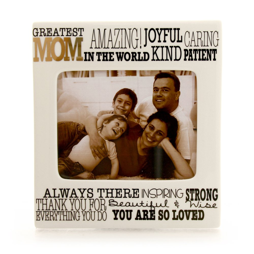 "Enesco Our Name is Mud ""Greatest Mom"" Ceramic Photo Frame, 4""x5"""