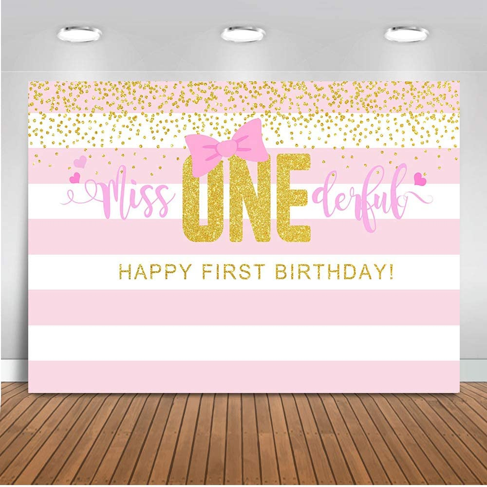 Mocsicka Miss Onederful Backdrop Girls First Birthday Party Background 7x5ft Vinyl Pink 1st Birthday Party Backdrops