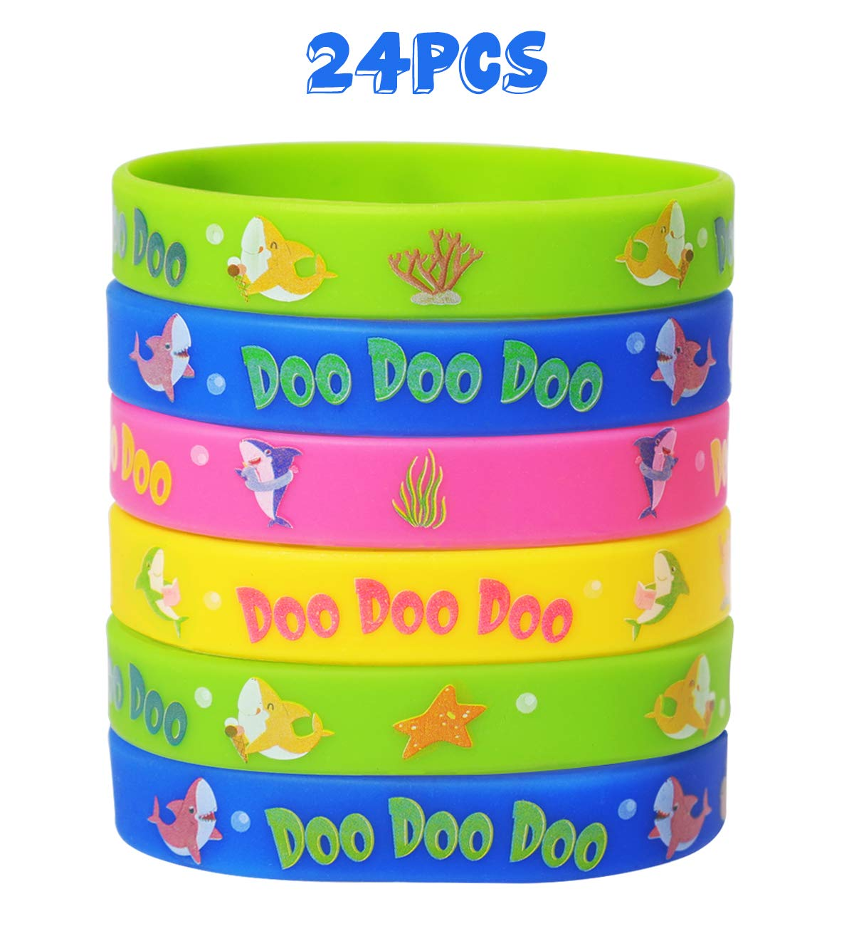 Baby Shark Rubber Wristbands Bracelets - Kids Birthday Party Favors Supplies Gift Decorations by Your Little Lovely