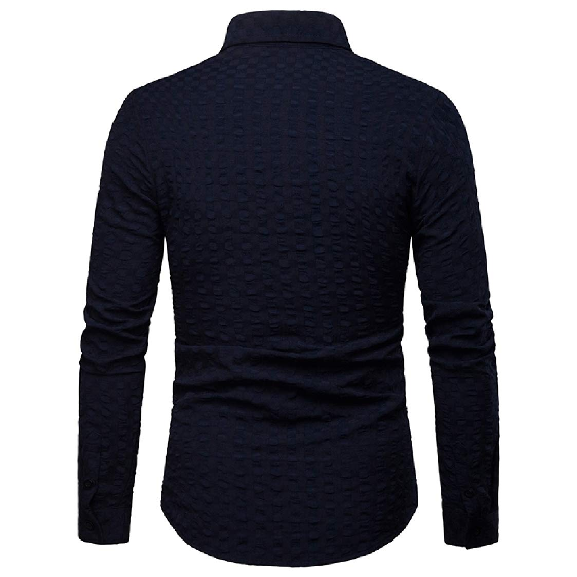 Nanquan Men Regular Fit Long Sleeve Button Front Casual Solid Color Business Shirts