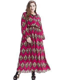 Romacci Women Boho Dress Plus Size Long Sleeves Chiffon Print Maxi Dress  Turn-Down Collar Elastic Waist Long Dress… 0e29d9cc85c7