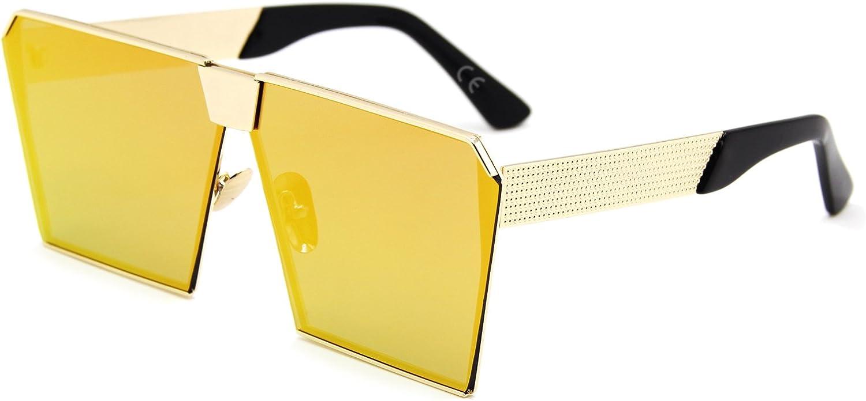 AMZTM Cuadrado Montura Cristal Lentes Oversized Metal Gafas De Sol Para Mujer Y Hombre
