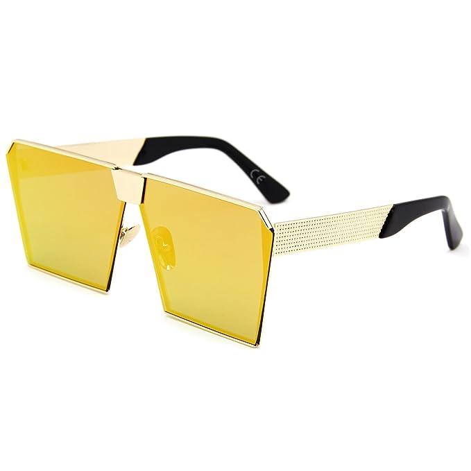 281443a5f6 AMZTM Cuadrado Montura Cristal Lentes Oversized Metal Gafas De Sol Para  Mujer Y Hombre (naranja