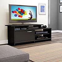 Topeakmart Black Wood TV Stand Console Table Home Entertainment Center Cabinet for 50 inch Flat Screen TVs