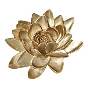 MLADEN Flower Wall Decor 3D Resin Lotus Wall Hanging Decor Art Decor for Home Dedroom Living Room (Gold, M)