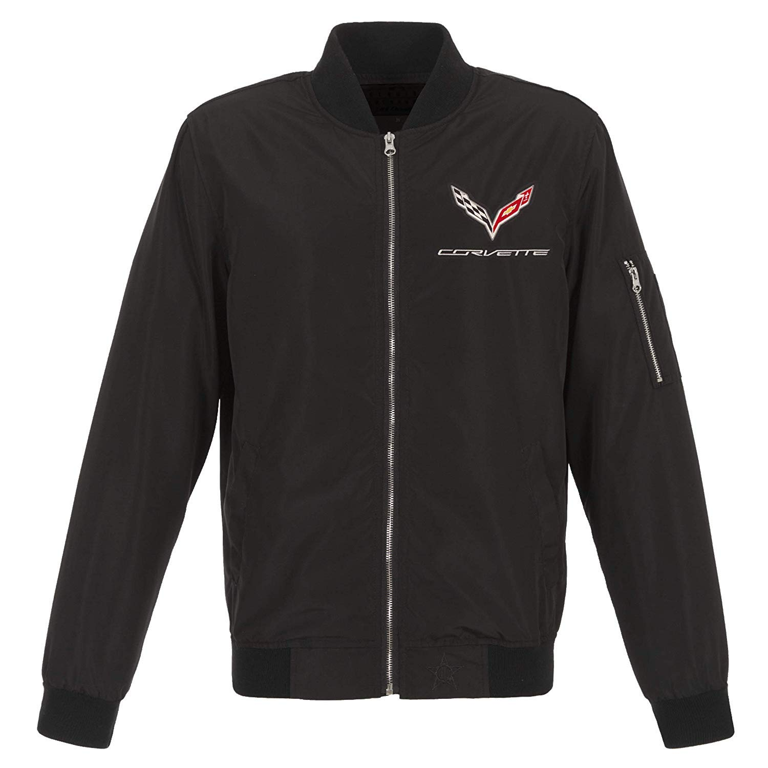 JH DESIGN GROUP Mens Chevy Corvette Lightweight Zip-Up Nylon Jacket with Knit Trim COR9N3BMB8BLK