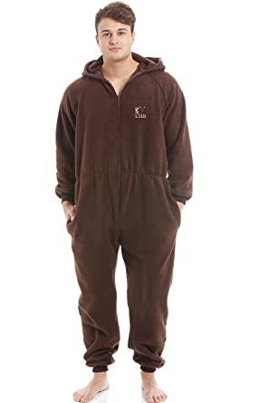 Camille Mens Brown Supersoft Fleece Zip Front Hooded Onesie M Brown