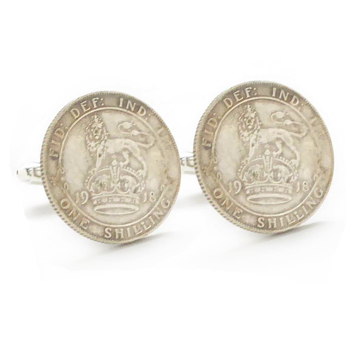 Silver Shillings Cufflinks Cuff Links Coin British UK King Crown Queen Royal England Seal WWI