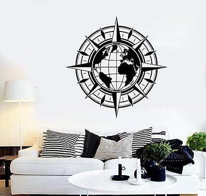 Wjbky Wereldkompas Reizen Aarde Sticker Vinyl Muurtattoo Aarde Kaart Meubels Decoratie Woonkamer Wanddecoratie 57x57cm Amazon Nl