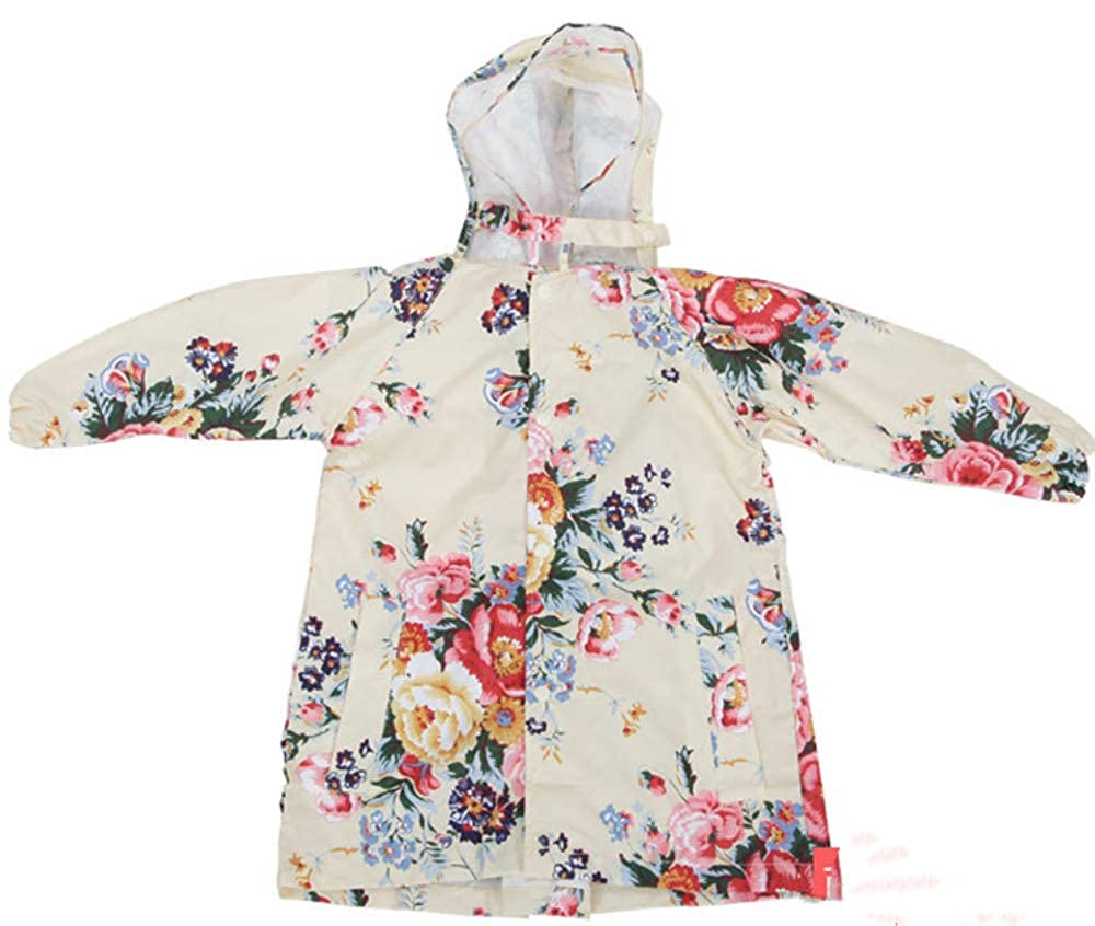 LENAZI Girl Baby Kid Lightweight Flower Print Raincoats Full Length Waterproof Hooded Coat Jacket
