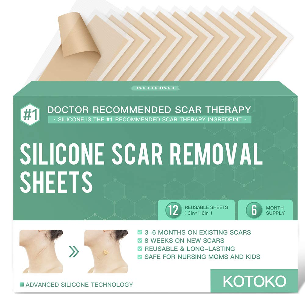 """Reusable and Washable Silicone Scar Sheets-12 Sheets,Soften and Flattens Scars Resulting from Surgery,Burns,Acne, C-Section and More,Silicone Scar Removal Patch Away,3""""×1.6"""",(6 Month Supply)"""