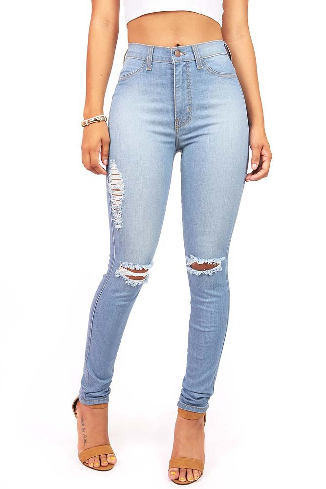 f77980aba63590 Vibrant Women's Juniors Faded Ripped Knee High Waist Skinny Jeans ...