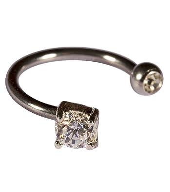Six schmuck piercing  SIX Ohr-Piercing aus echtem Silber mit Strasssteinchen, groß und ...