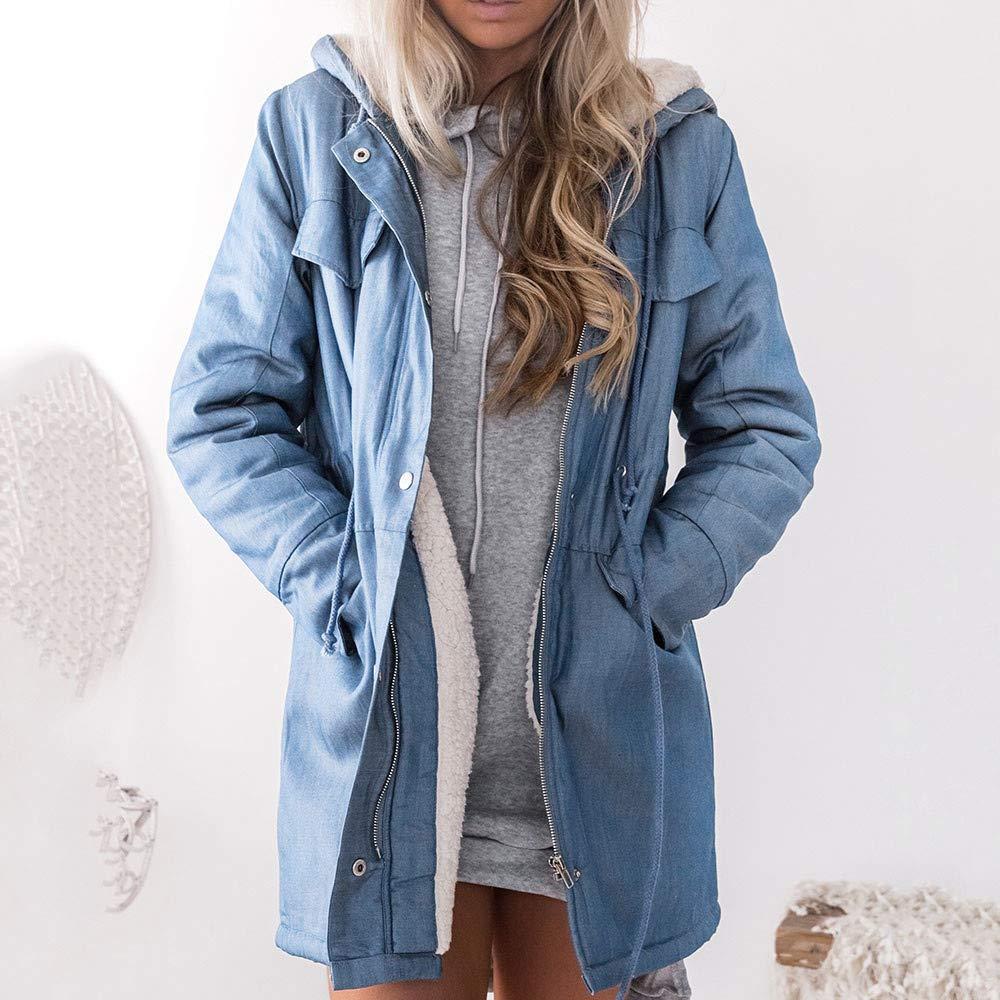 Women Coat,JKRED Fashion Casual Women Warm Hooded Casual Long Sleeve Denim Jacket Long Jean Coat Outwear Overcoat