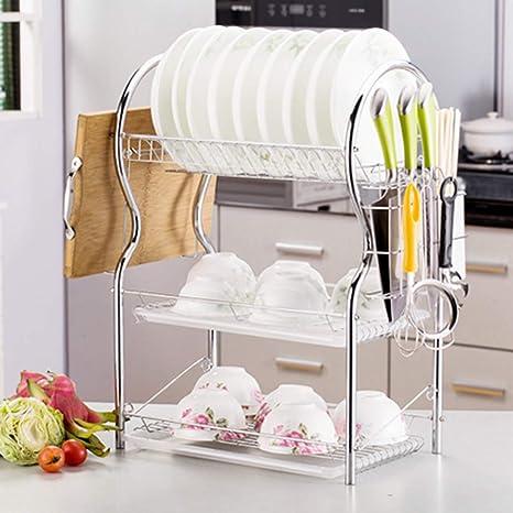 42 x 25 x 56cm Égouttoir Vaisselle pour Plats Bols Tasses Couverts Porte-Couverts avec bac Amovible iVansa Égouttoir à Vaisselle 3 Étages