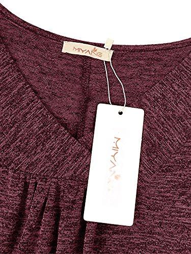 manica Solid in Summer Maglietta Loose Mae Rosso V Cotone Casual Scuro donna corta Top Collo SprHTpc