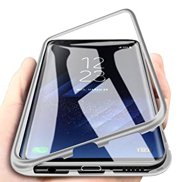 8e2571ac3aa WindCase Galaxy S8 Plus Funda, Anti-rasguño Metal Aluminio Bumper con  Magnética + Transparente Vidrio Templado Rígida Cubierta Protectora Carcasa  para ...