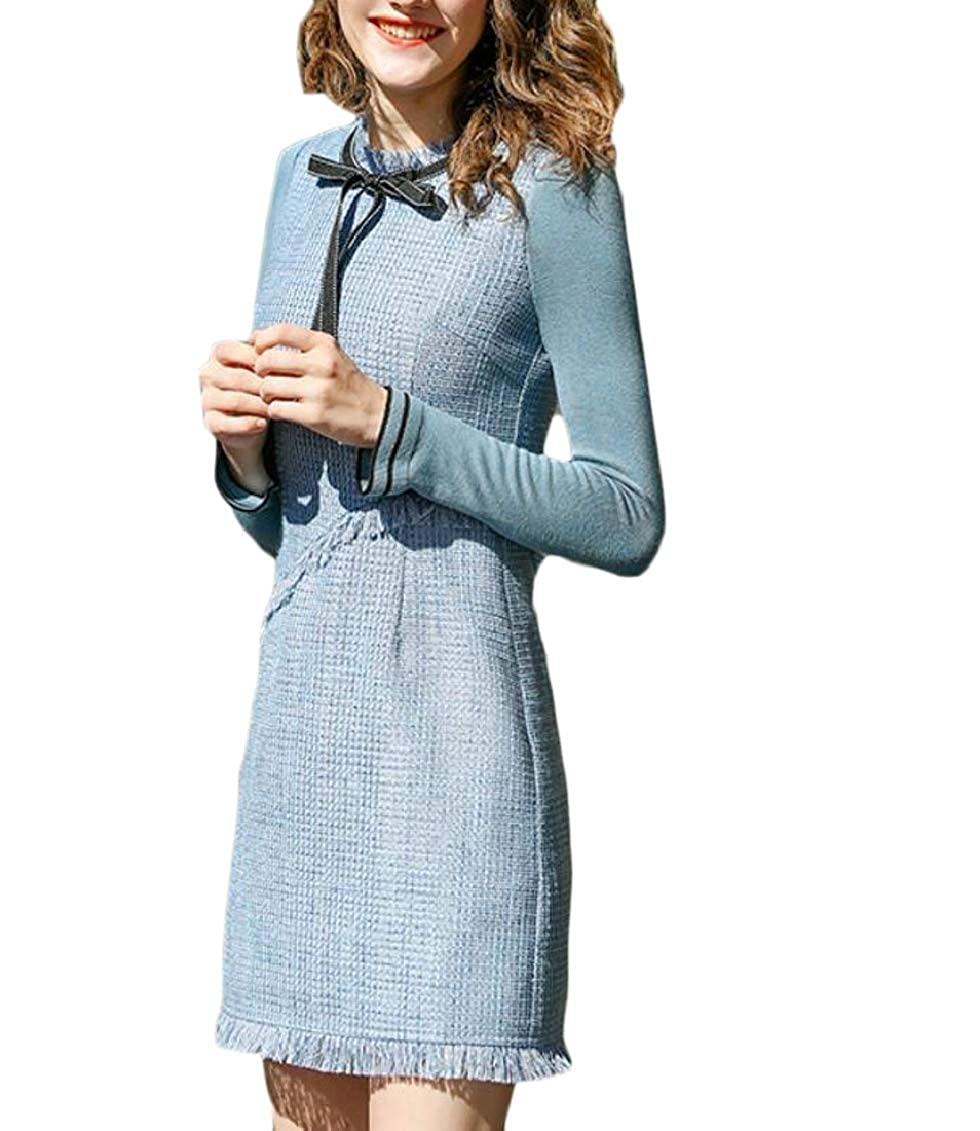 7cf269e586 Hokny TD Womens Bowknot Slim Fit Long Sleeve Tweed Fleece Lined Maxi Dress  at Amazon Women's Clothing store: