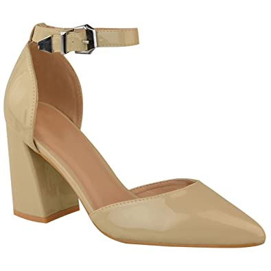 58fb67f44e651 Miss Image UK Womens Ladies Ankle Strap Mid High Block Heel Pointy Toe Sandals  Court Shoe Size  Amazon.co.uk  Shoes   Bags