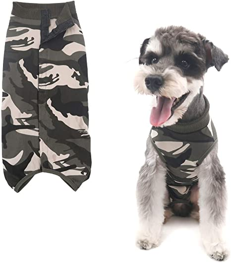 Home Indoor Pets Clothing Camouflage Medium After Surgery Wear Due Felice Dog Professional Surgical Recovery Suit for Abdominal Wounds Skin Diseases E-Collar Alternative for Dogs