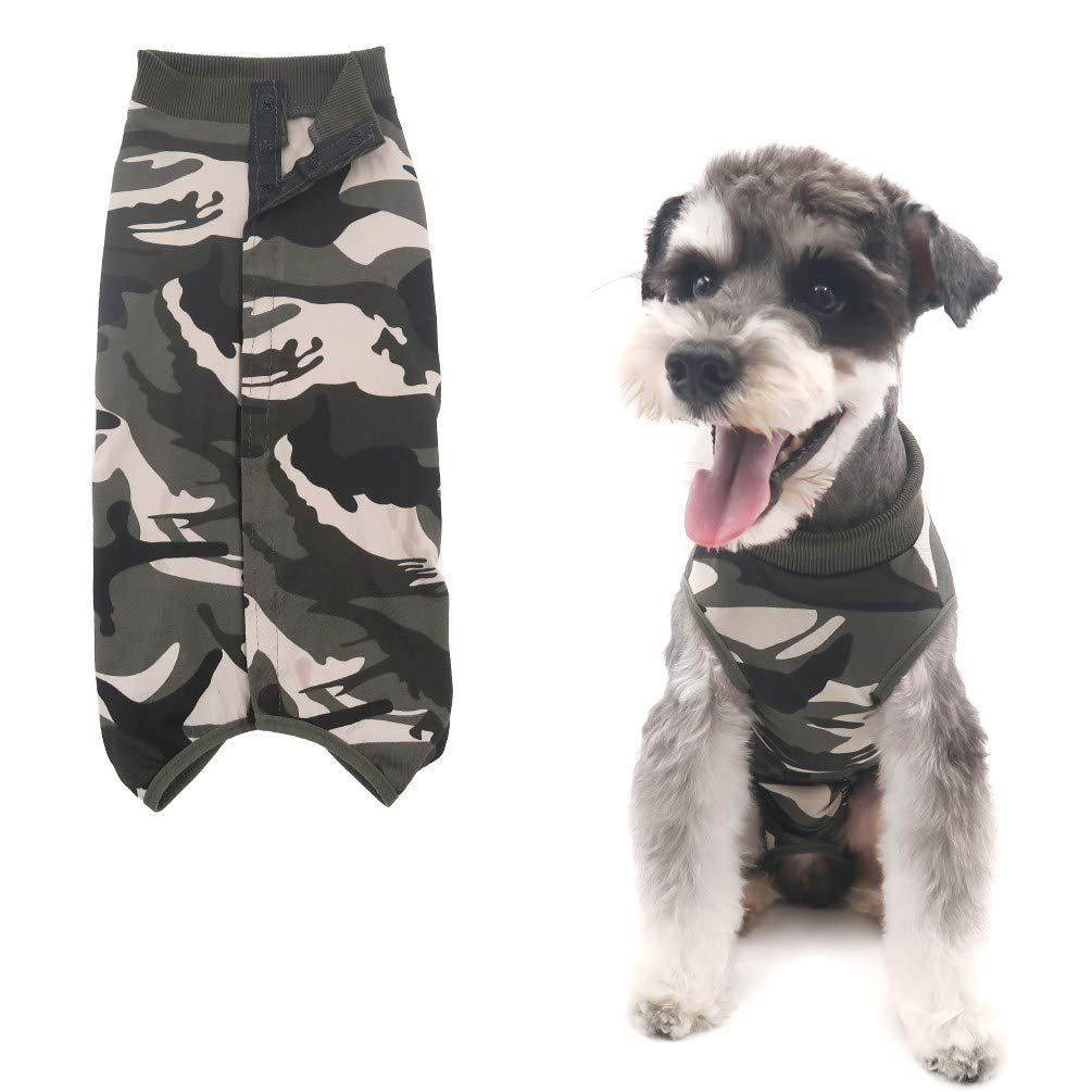 Due Felice Dog Professional Surgical Recovery Suit for Abdominal Wounds Skin Diseases, After Surgery Wear, E-Collar Alternative for Dogs, Home Indoor Pets Clothing Camouflage M by Due Felice