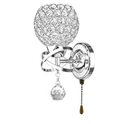 Wefond Modern Crystal Wall Light Pendent Lamp Chrome Finish Bedroom Sconce Lighting Fixture with Pull Cord Switch, E14 Socket (Spherical)
