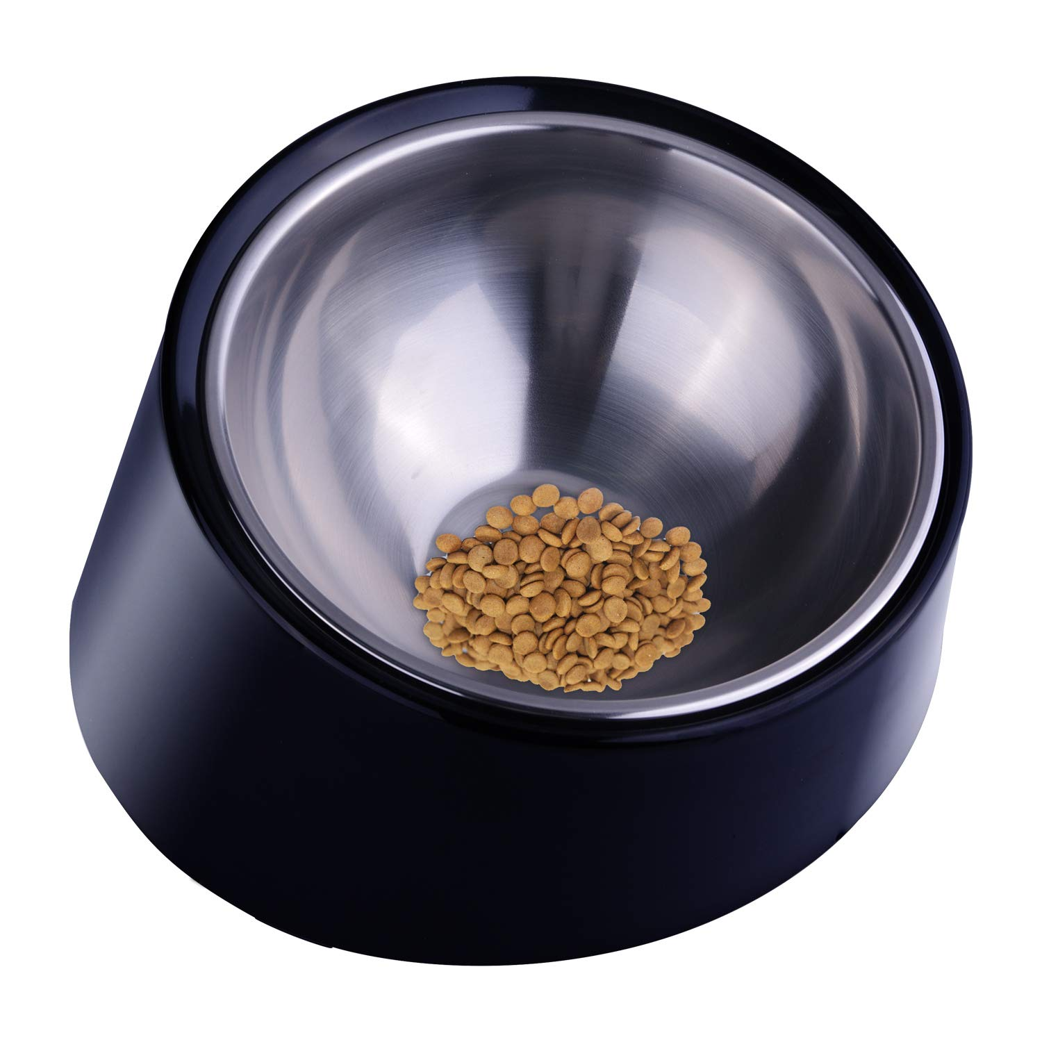 Super Design Mess Free 15 Degree Slanted Bowl for Dogs and Cats Black Large