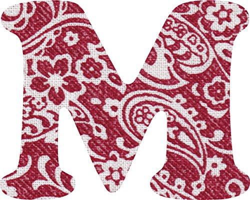 ペイズリー柄 生地 アルファベット M アップリケ レッド アイロン接着可能 大文字 coop (7cm)の商品画像